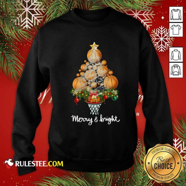 Volleyball Merry And Bright Christmas Tree Sweatshirt - Design By Rulestee.com