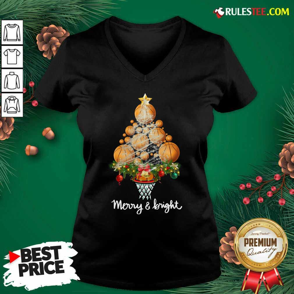 Volleyball Merry And Bright Christmas Tree V-neck - Design By Rulestee.com