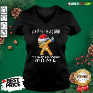 Christmas The Year We Stayed Home 2020 Quarantine Gingerbread Pajama V-neck - Design By Rulestee.com