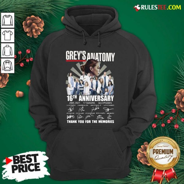 Premium Greys Anatomy 16th Anniversary Thank You For The Memories Signatures Hoodie - Design By Rulestee.com
