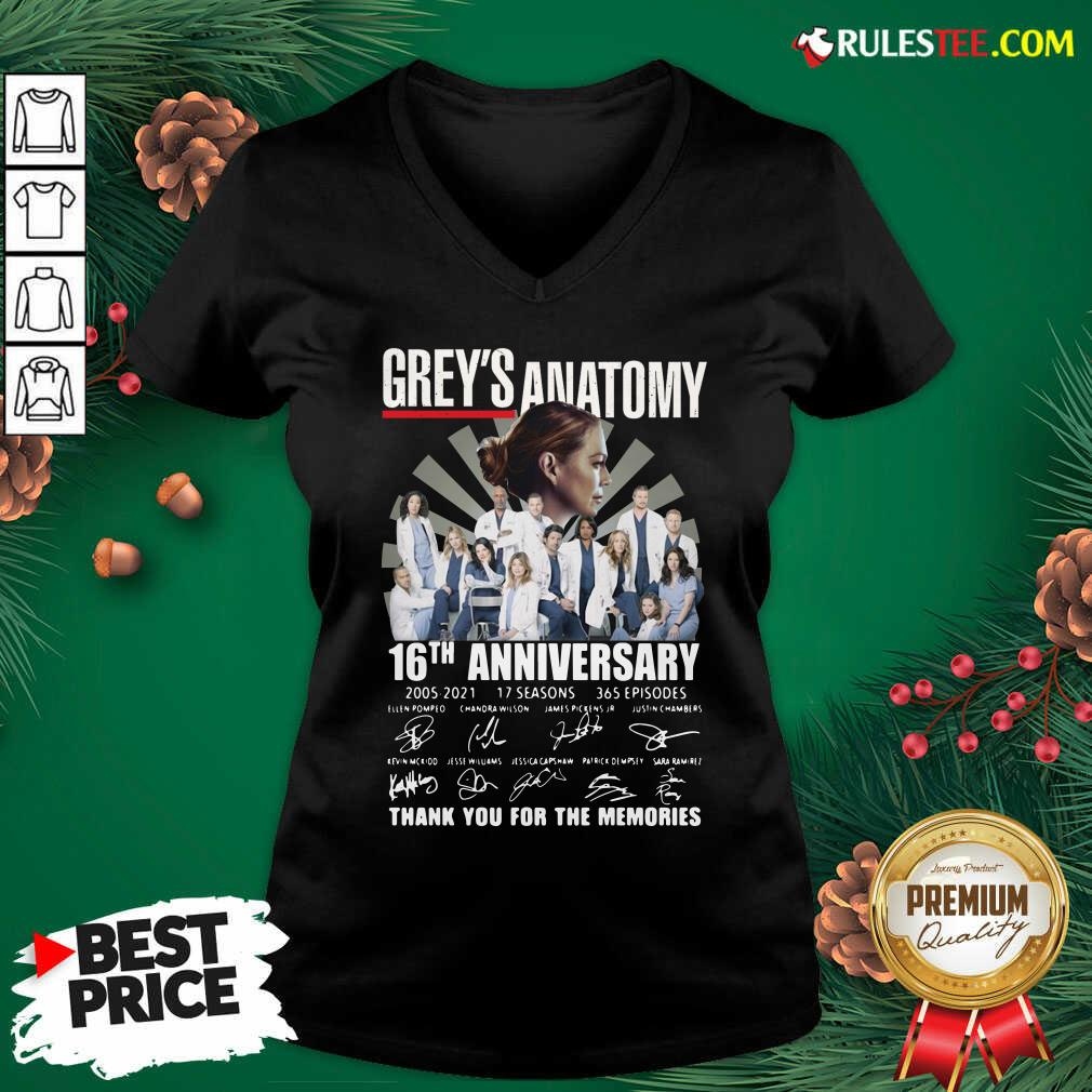 Premium Greys Anatomy 16th Anniversary Thank You For The Memories Signatures V-neck - Design By Rulestee.com