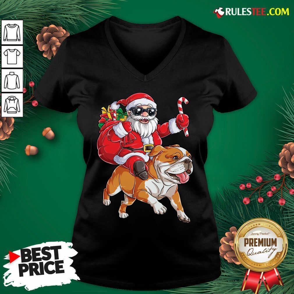 Santa Claus Riding Bulldog Merry Christmas V-neck - Design By Rulestee.com