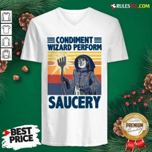 Vintage Condiment Wizard Perform Saucery V-neck - Design By Rulestee.com