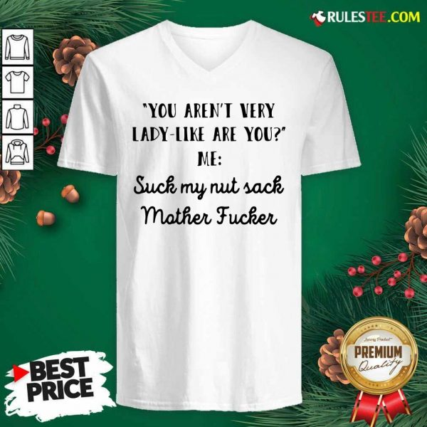 You Aren't Very Lady Like Are You Me Suck My Nut Sack Mother Fucker V-neck - Design By Rulestee.com