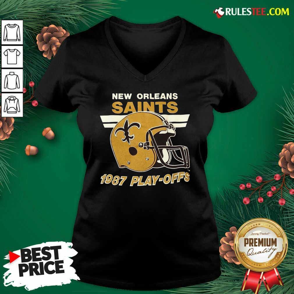 1987 New Orleans Saints Playoffs Vintage V-neck - Design By Rulestee.com