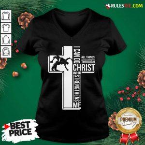 Cross I Can Do Christ Who Strengthens Me V-neck - Design By Rulestee.com