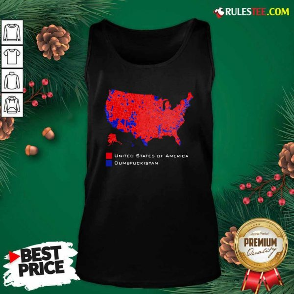 Republican Version United States of America Vs Dumbfuckistan Election Map Tank Top - Design By Rulestee.com