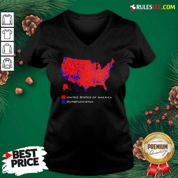 Republican Version United States of America Vs Dumbfuckistan Election Map V-neck - Design By Rulestee.com