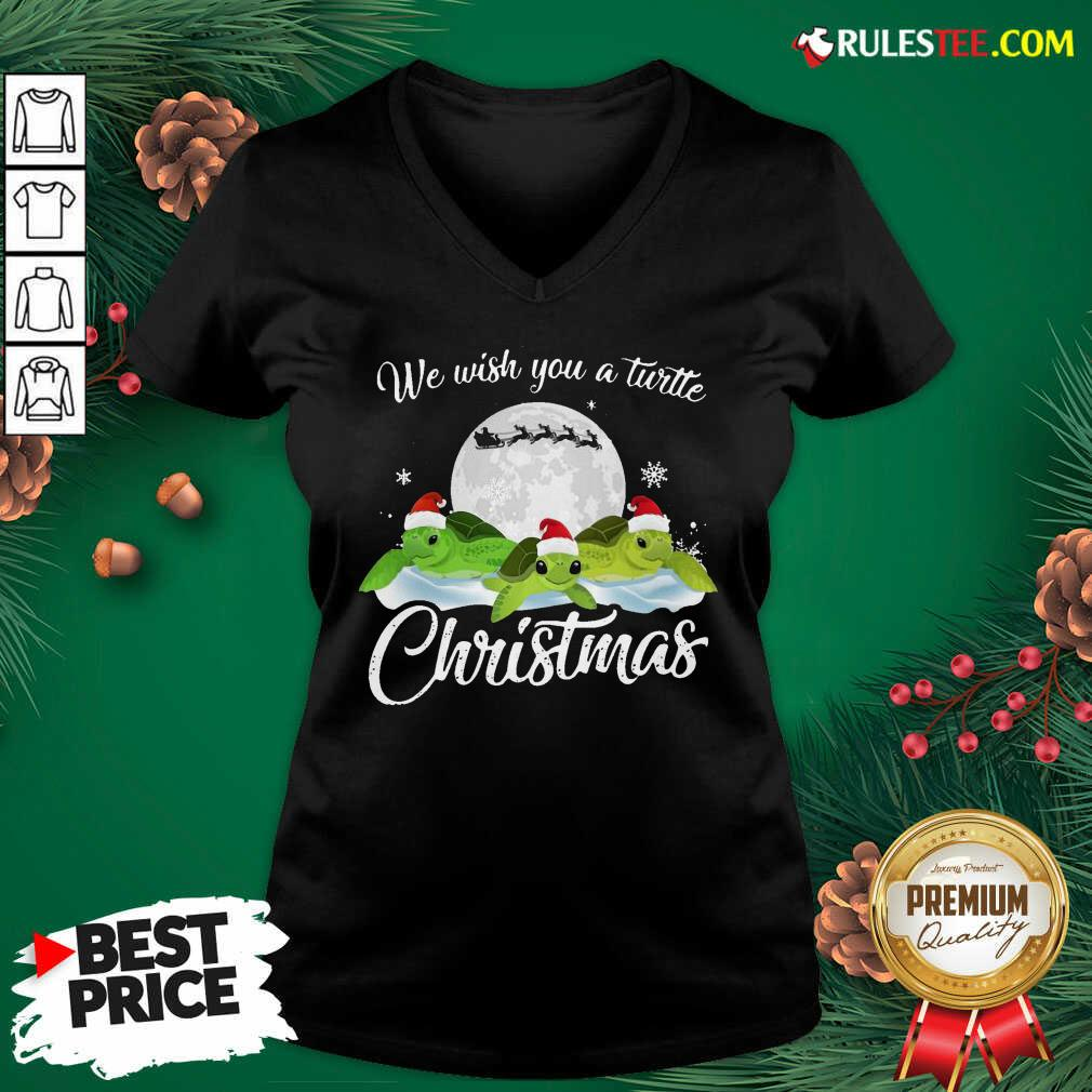 Turtles Santa We Wish You A Turtle Christmas V-neck - Design By Rulestee.com