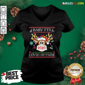 Baby It's Covid Outside Reindeer Wear Mask 2020 Lights Christmas V-neck - Design By Rulestee.com
