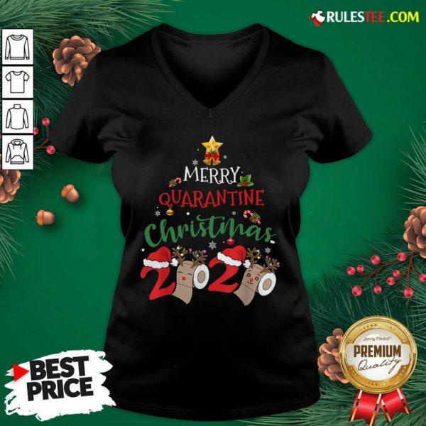 Merry Quarantine Christmas 2020 Pajamas Christmas V-neck - Design By Rulestee.com