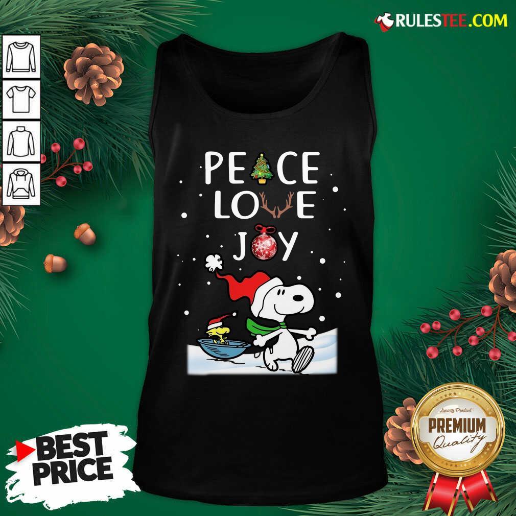 Top Peanuts Snoopy Peace Love Joy Christmas Tank Top - Design By Rulestee.com