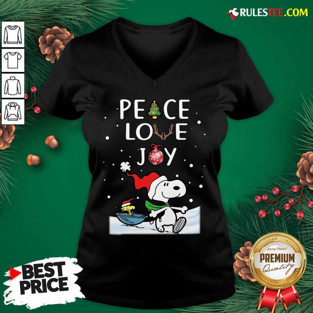 Top Peanuts Snoopy Peace Love Joy Christmas Sweatshirt - Design By Rulestee.com