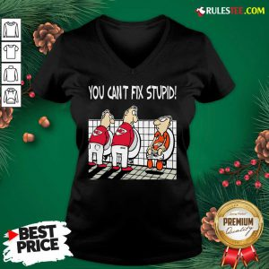 You Can't Fix Stupid Funny Kansas City Chiefs NFL V-neck- Design By Rulestee.com