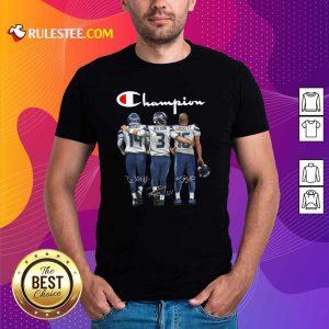 Seattle Seahawks Champions Dk Metcalf 14 Russell Wilson 3 Tyler Lockett 16 Signatures Shirt - Design By Rulestee.com
