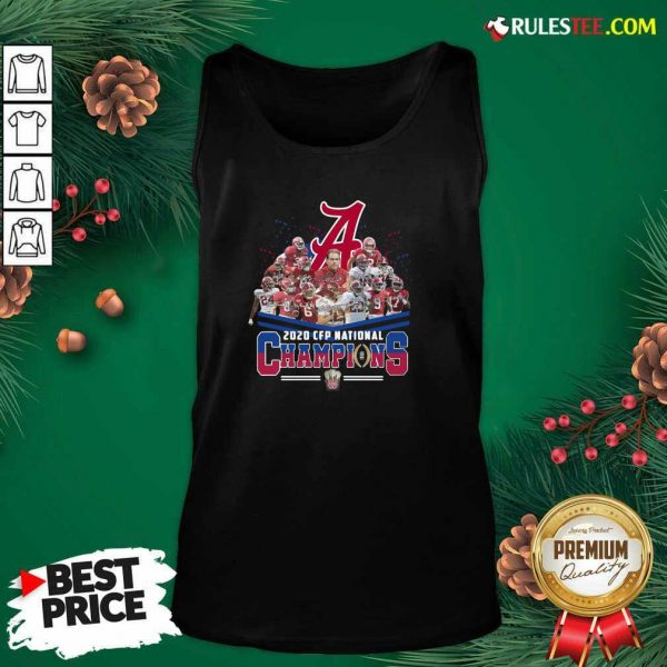 Alabama Crimson Tide Football Team Players 2020 Cfp National Champions Signatures Tank Top - Design By Rulestee.com