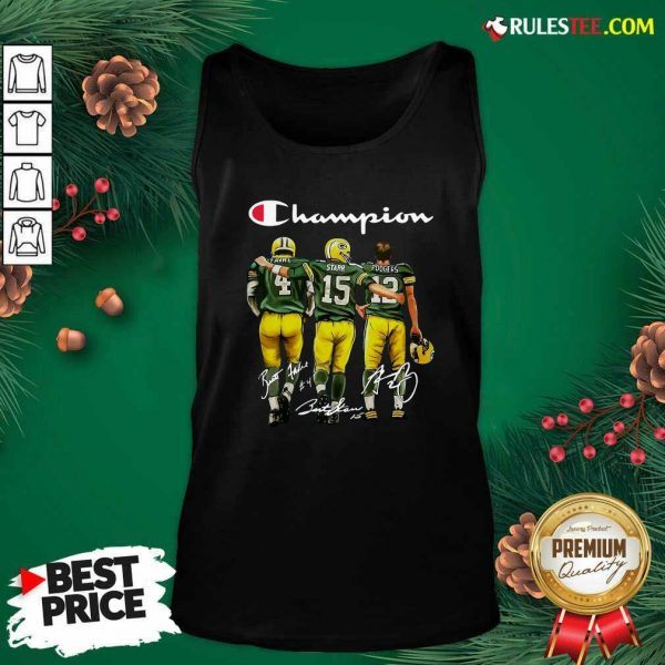 Champion Green Bay Packer Brett Favre 4 Bart Starr 15 Aaron Rodgers 12 Signatures Tank Top - Design By Rulestee.com