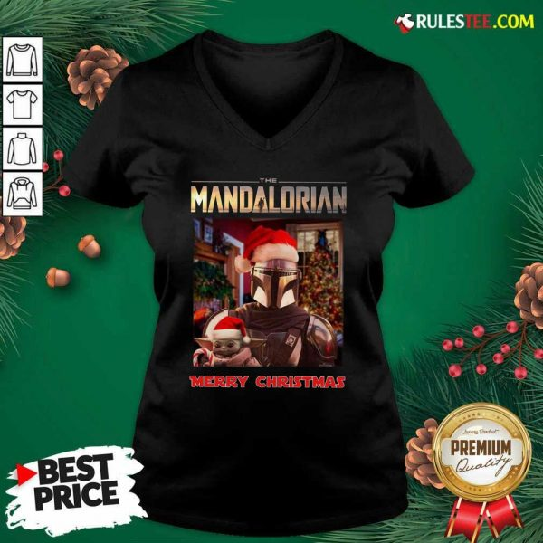 Star Wars The Mandalorian And Baby Yoda Merry Christmas V-neck - Design By Rulestee.com