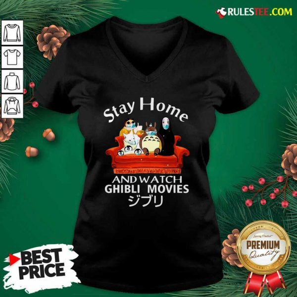 Stay Home And Watch Ghibli Movies Face Mask V-neck - Design By Rulestee.com