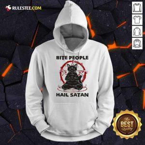 Black Cat Bite People Hail Satan Hoodie - Design By Rulestee.com