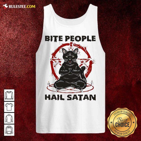 Black Cat Bite People Hail Satan Tank Top - Design By Rulestee.com