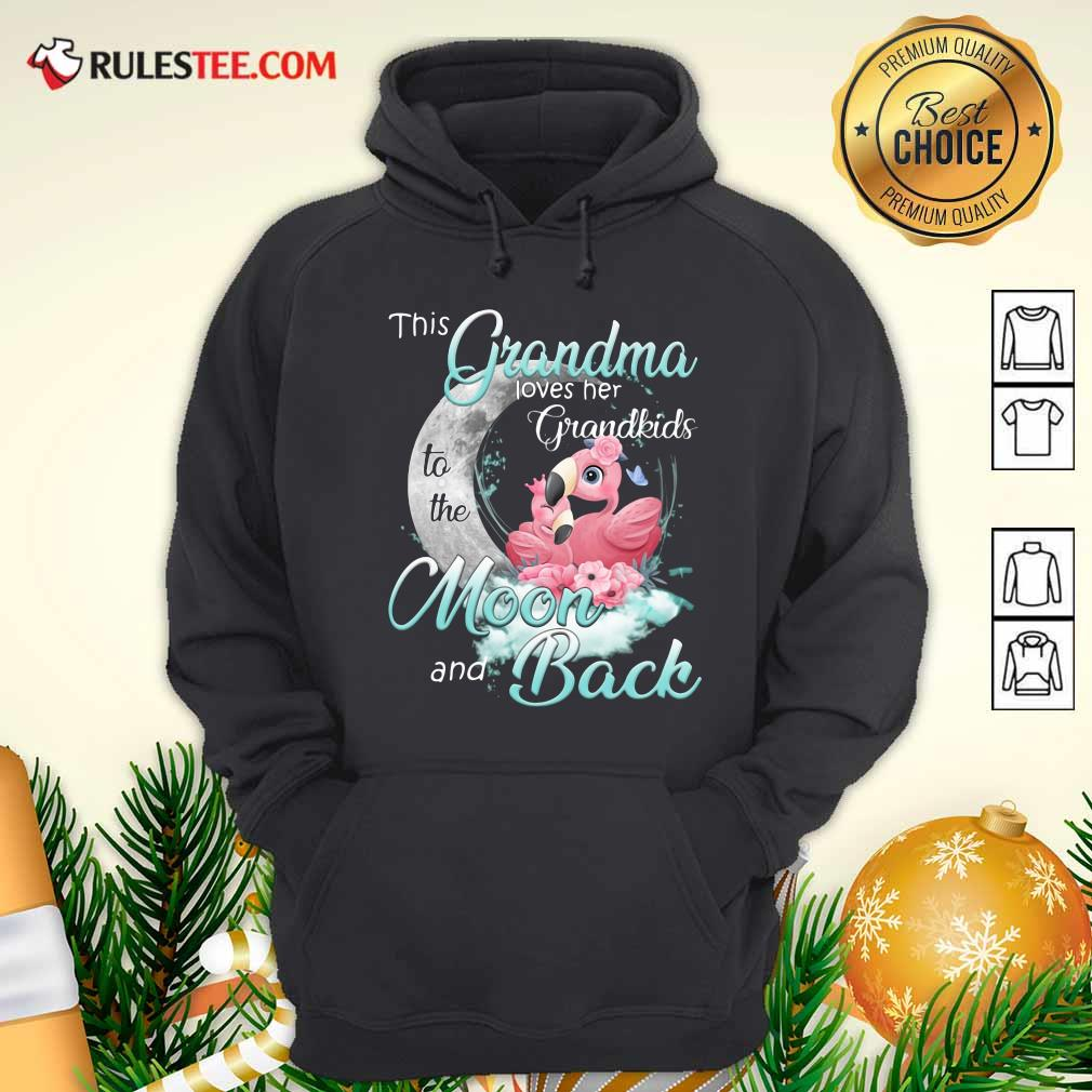 Flamingo This Grandma Loves Her Grandkids To The Moon And Back Hoodie - Design By Rulestee.com