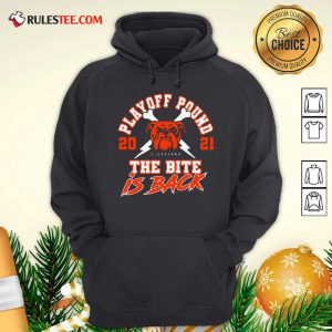 Playoff Pound 2021 Cleveland Browns The Bite Is Back Hoodie- Design By Rulestee.com