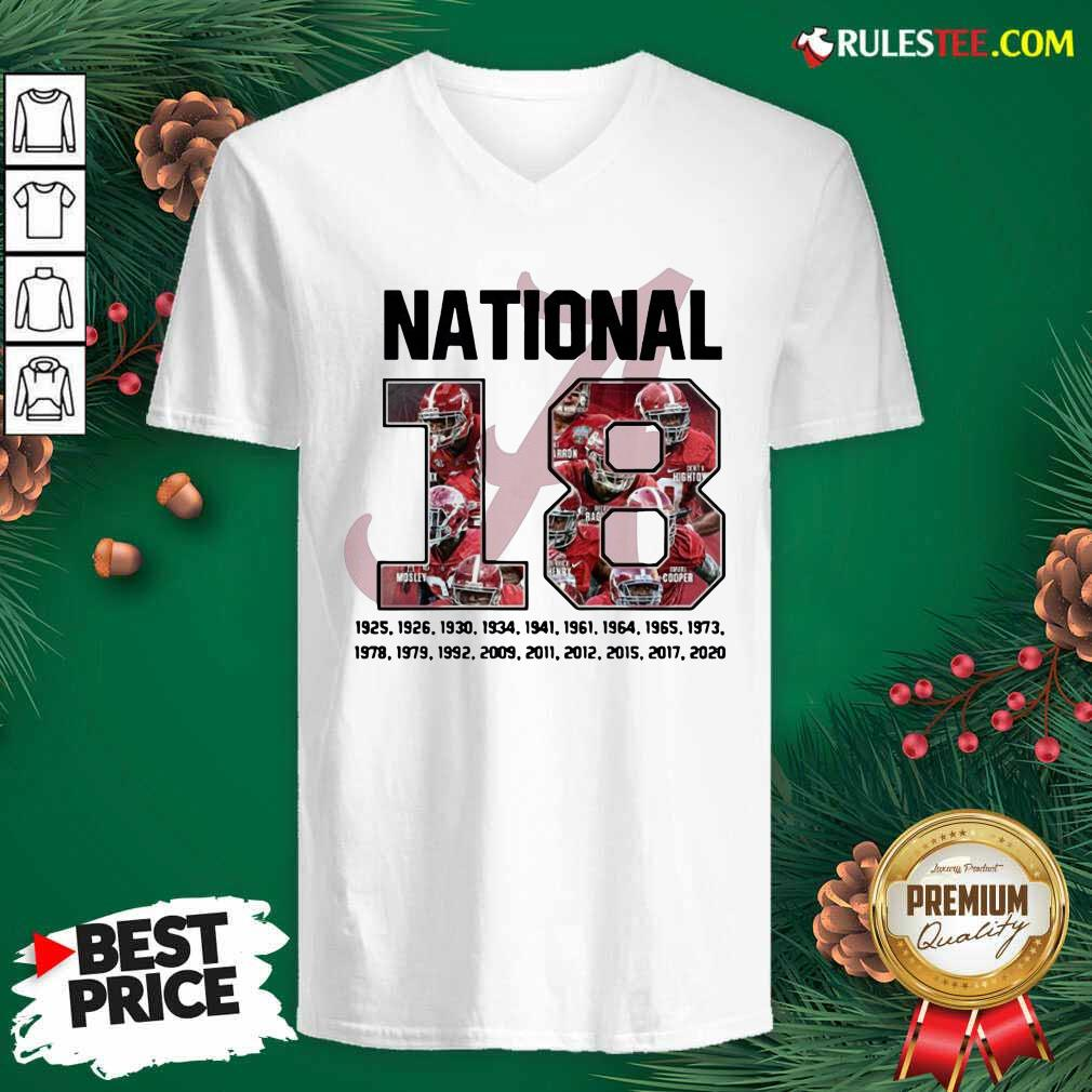18 Time National Alabama Crimson Tide V-neck - Design By Rulestee.com