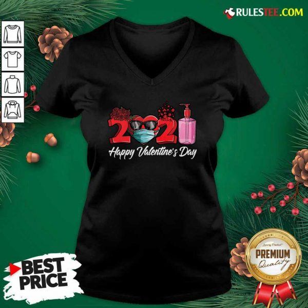 2021 Face Mask Happy Valentines Day V-neck - Design By Rulestee.com