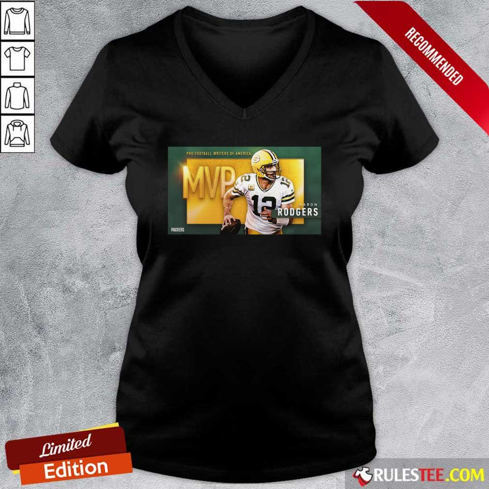 Aaron Rodgers Mvp Pro Football Writers Of America 2021 V-neck - Design By Rulestee.com