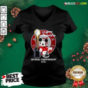 Alabama Crimson Tide Mickey Mouse NCAA National Championship 2021 V-neck - Design By Rulestee.com