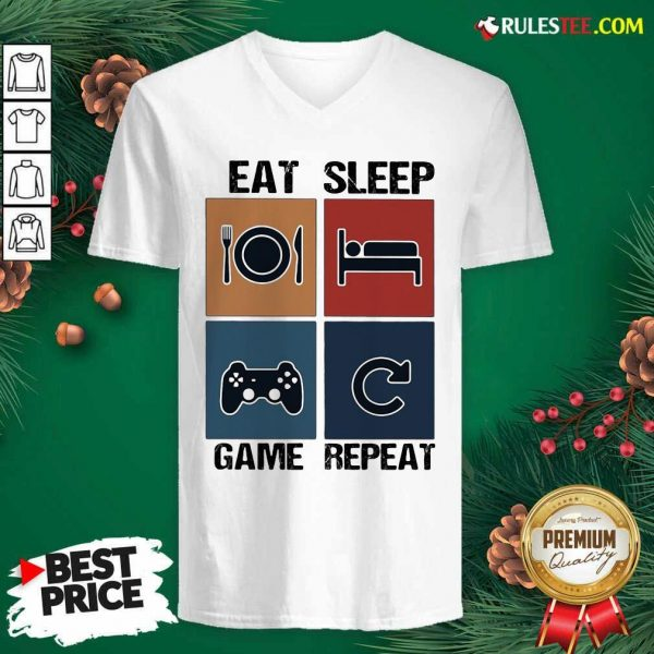 Eat Sleep Game Repeat Vintage V-neck - Design By Rulestee.com