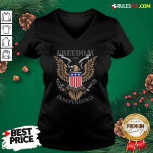 Freedom And Independence Eagle American Flag V-neck - Design By Rulestee.com