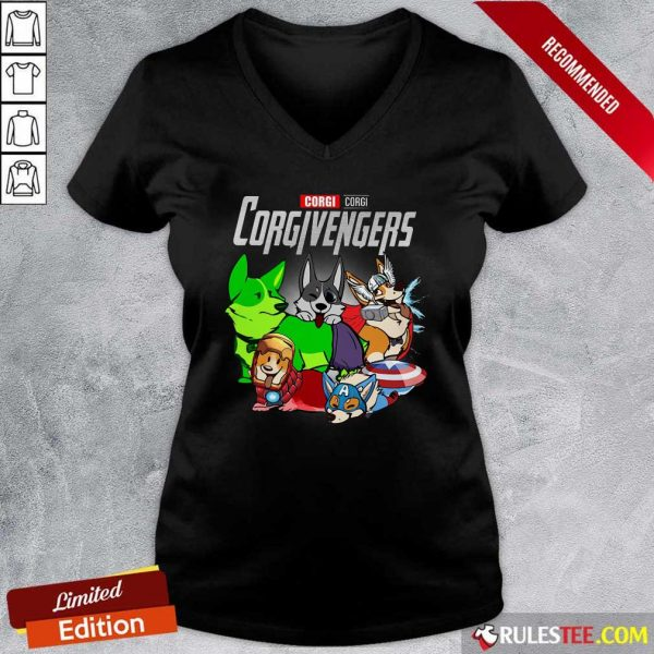 Marvel Avengers Corgi Corgivengers V-neck- Design By Rulestee.com