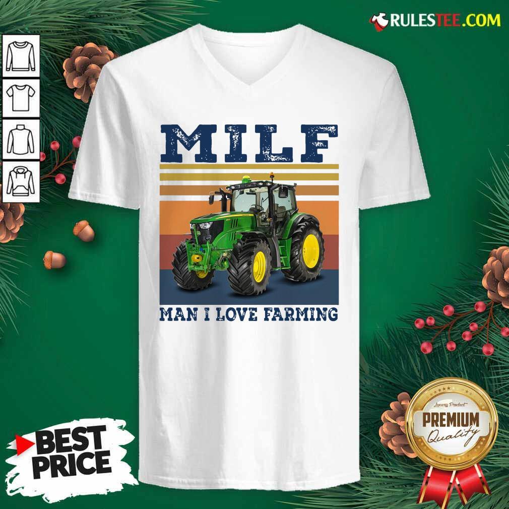 Milf Man I Love Farming Vintage V-neck - Design By Rulestee.com