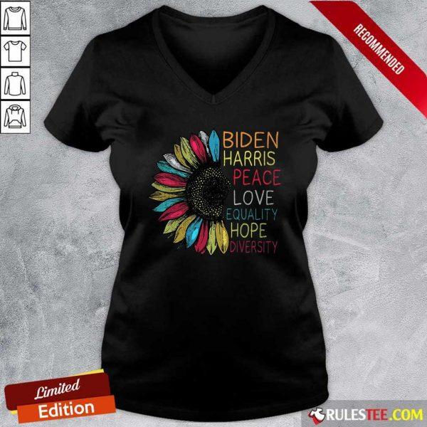 Peace Love Equality Hope Diversity Biden Harris 2020-2024 V-neck - Design By Rulestee.com