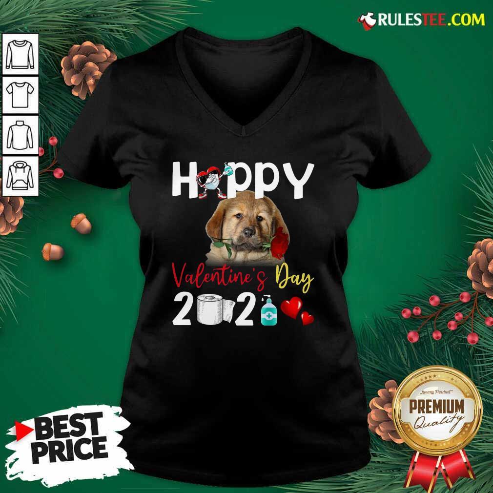 Tibetan Mastiff Happy Valentines Day With Toilet Paper 2021 V-neck - Design By Rulestee.com