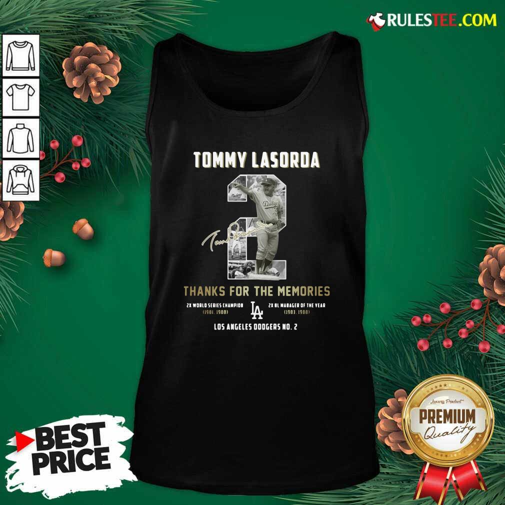 Tommy Lasorda 2 Thank You For The Memories Signature Tank Top - Design By Rulestee.com