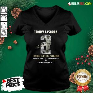 Tommy Lasorda 2 Thank You For The Memories Signature V-neck - Design By Rulestee.com