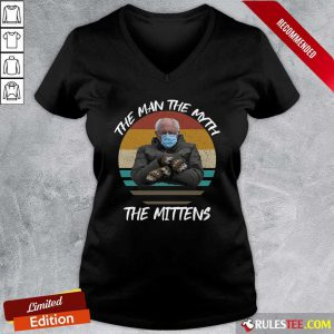 Vintage Bernie Sanders The Man The Myth The Mittens 2021 Inauguration V-neck - Design By Rulestee.com