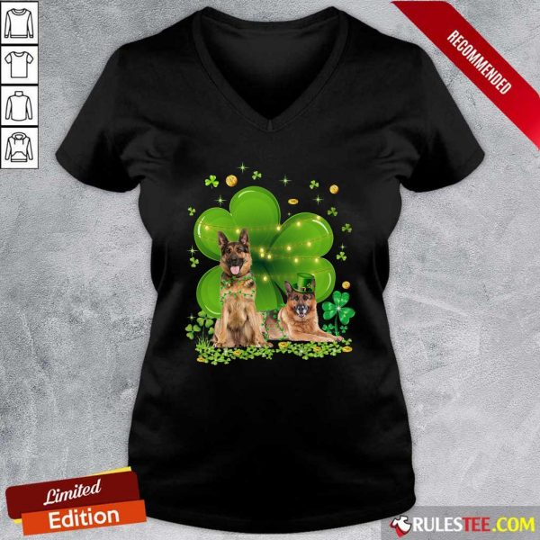 German Shepherd Shamrock St Patricks Day V-neck - Design By Rulestee.com