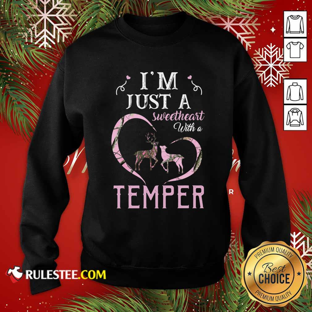 Reindeer Im Just A Sweetheart With A Temper Wallpaper Sweatshirt - Design By Rulestee.com