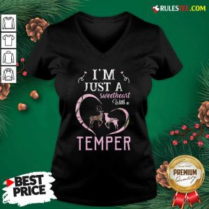 Reindeer Im Just A Sweetheart With A Temper Wallpaper V-neck - Design By Rulestee.com