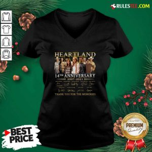 Heartland 14th Anniversary 2007 2021 Thank You For The Memories Signatures V-neck - Design By Rulestee.com