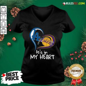 Los Angeles Dodgers And Los Angeles Lakers Its In My Heart V-neck - Design By Rulestee.com