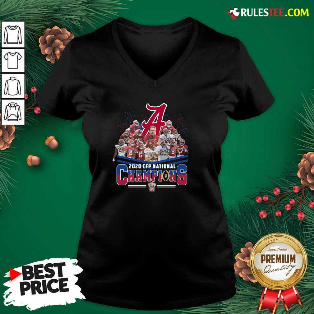 Alabama Crimson Tide Football Team Players 2020 Cfp National Champions Signatures V-neck - Design By Rulestee.com