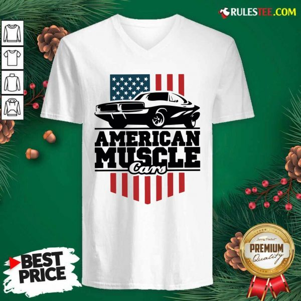 American Muscle Cars Flag V-neck - Design By Rulestee.com