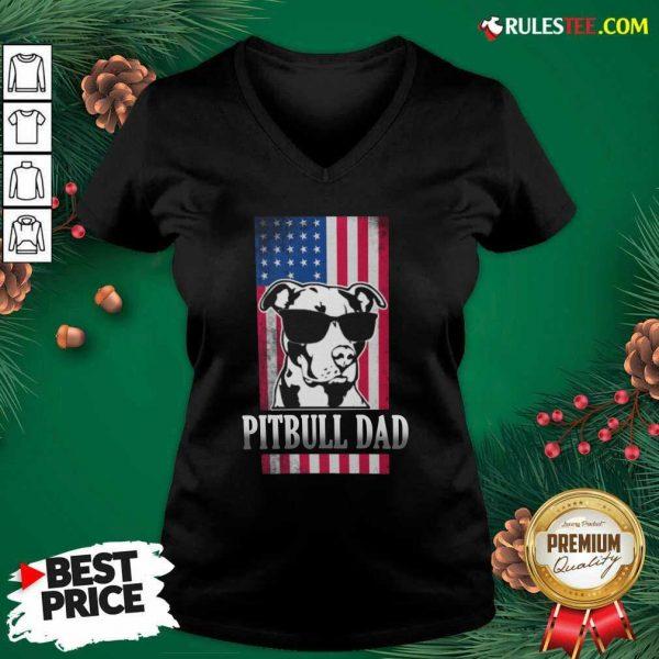 Pitbull Dad American Flag V-neck - Design By Rulestee.com