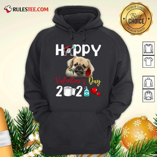 Tibetan Spaniel Happy Valentines Day With Toilet Paper 2021 Hoodie - Design By Rulestee.com