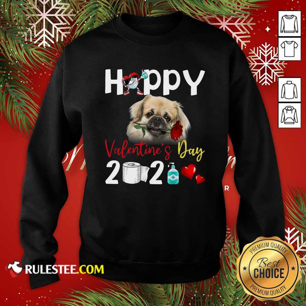 Tibetan Spaniel Happy Valentines Day With Toilet Paper 2021 Sweatshirt - Design By Rulestee.com